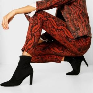 Faux Red/Burnt Orange  Snake Skin Plus Size Jeans